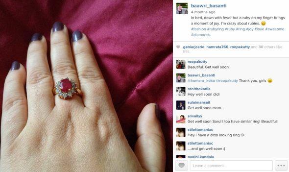 Saru Diamond Ruby Ring