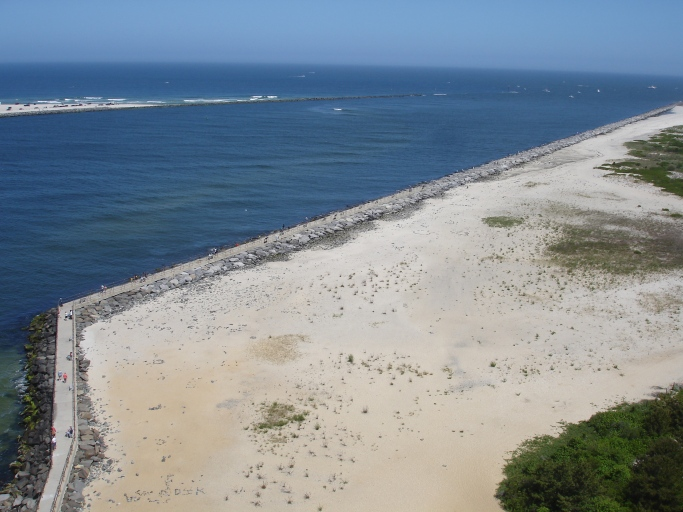 view of island beach state park from barnegat light house