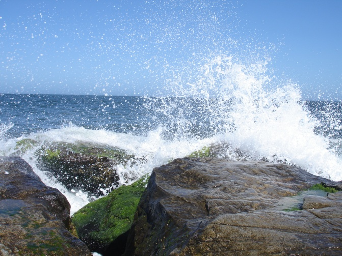waves hitting the shore