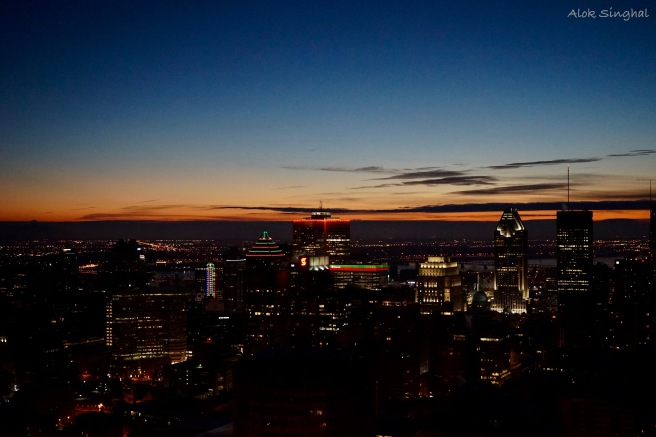 sunrise over downtown montreal
